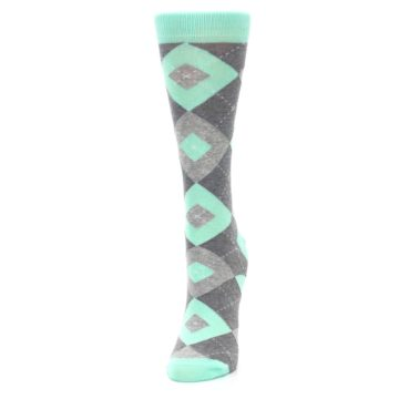 Image of Mint Green Gray Argyle Women's Dress Socks (side-2-front-07)