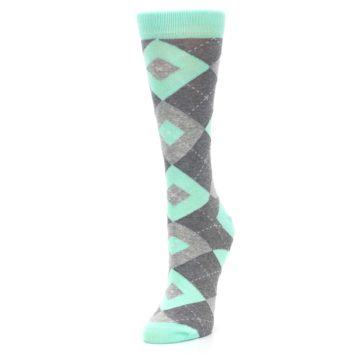 Image of Mint Green Gray Argyle Women's Dress Socks (side-2-front-08)