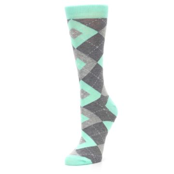 Image of Mint Green Gray Argyle Women's Dress Socks (side-2-09)
