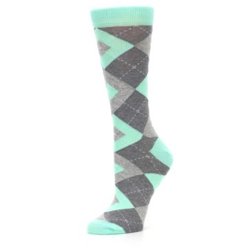 Image of Mint Green Gray Argyle Women's Dress Socks (side-2-10)