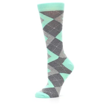 Image of Mint Green Gray Argyle Women's Dress Socks (side-2-11)