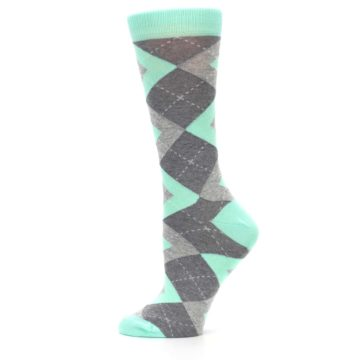 Image of Mint Green Gray Argyle Women's Dress Socks (side-2-12)