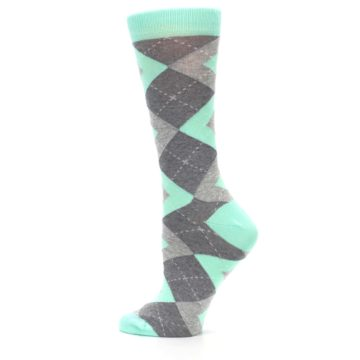 Image of Mint Green Gray Argyle Women's Dress Socks (side-2-13)
