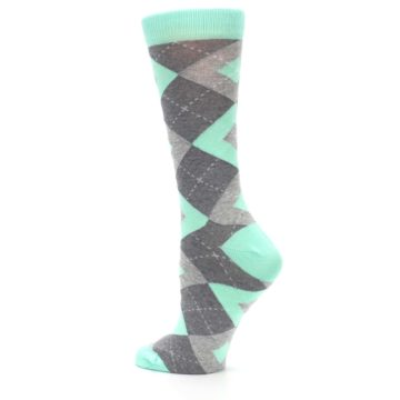 Image of Mint Green Gray Argyle Women's Dress Socks (side-2-back-14)