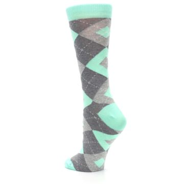 Image of Mint Green Gray Argyle Women's Dress Socks (side-2-back-15)