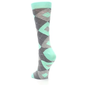 Image of Mint Green Gray Argyle Women's Dress Socks (side-2-back-16)