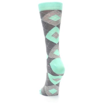 Image of Mint Green Gray Argyle Women's Dress Socks (back-17)