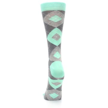 Image of Mint Green Gray Argyle Women's Dress Socks (back-18)