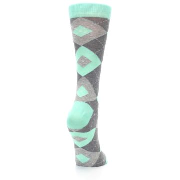 Image of Mint Green Gray Argyle Women's Dress Socks (side-1-back-21)
