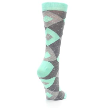 Image of Mint Green Gray Argyle Women's Dress Socks (side-1-back-22)
