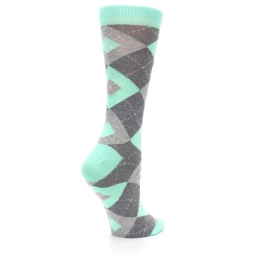 Image of Mint Green Gray Argyle Women's Dress Socks (side-1-23)