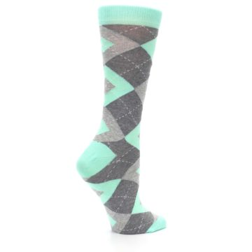 Image of Mint Green Gray Argyle Women's Dress Socks (side-1-24)