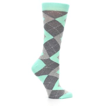 Image of Mint Green Gray Argyle Women's Dress Socks (side-1-25)