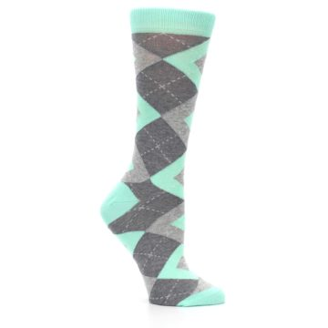 Image of Mint Green Gray Argyle Women's Dress Socks (side-1-26)
