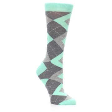 Image of Mint Green Gray Argyle Women's Dress Socks (side-1-27)