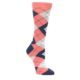 Coral and Navy Women's Argyle Socks