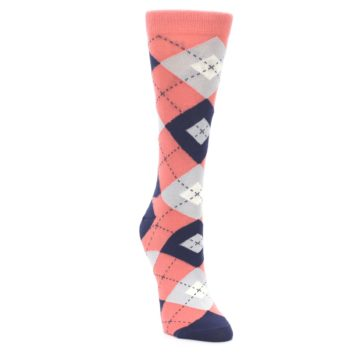Image of Coral Navy Argyle Women's Dress Socks (side-1-front-03)
