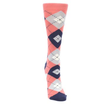 Image of Coral Navy Argyle Women's Dress Socks (front-04)