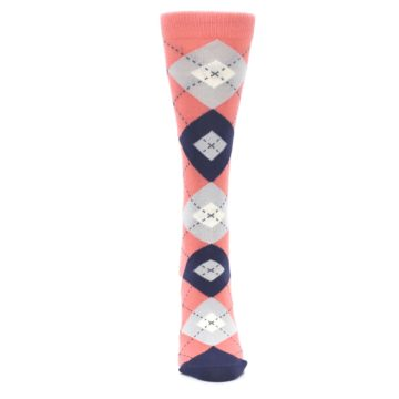 Image of Coral Navy Argyle Women's Dress Socks (front-05)