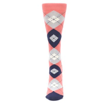 Image of Coral Navy Argyle Women's Dress Socks (side-2-front-06)
