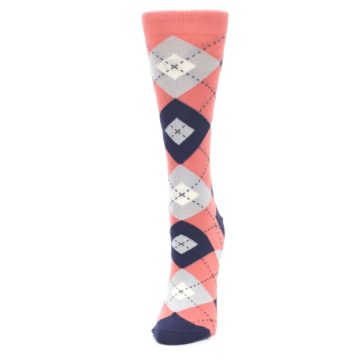 Image of Coral Navy Argyle Women's Dress Socks (side-2-front-07)