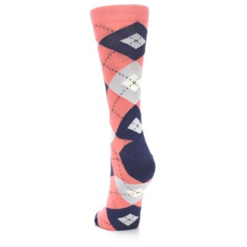 Image of Coral Navy Argyle Women's Dress Socks (back-17)