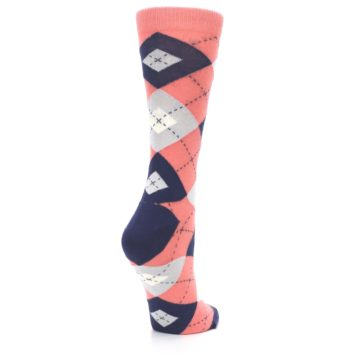 Image of Coral Navy Argyle Women's Dress Socks (side-1-back-22)