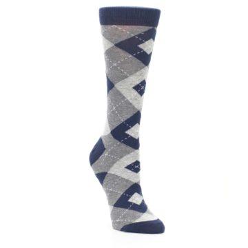 Image of Navy Gray Argyle Women's Dress Socks (side-1-front-02)