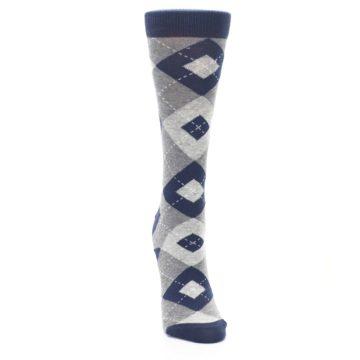Image of Navy Gray Argyle Women's Dress Socks (front-04)