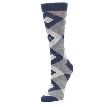 Image of Navy Gray Argyle Women's Dress Socks (side-2-09)