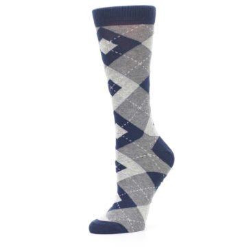 Image of Navy Gray Argyle Women's Dress Socks (side-2-10)