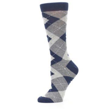 Image of Navy Gray Argyle Women's Dress Socks (side-2-11)