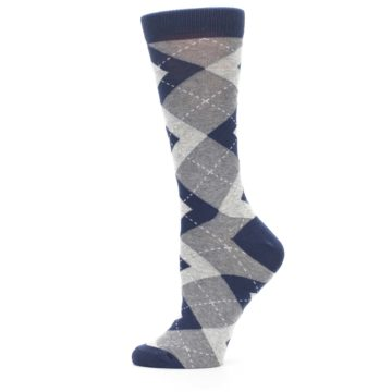 Image of Navy Gray Argyle Women's Dress Socks (side-2-12)