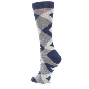 Image of Navy Gray Argyle Women's Dress Socks (side-2-back-15)