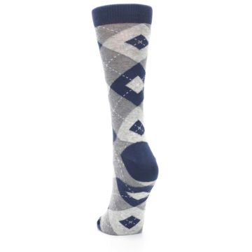 Image of Navy Gray Argyle Women's Dress Socks (back-17)
