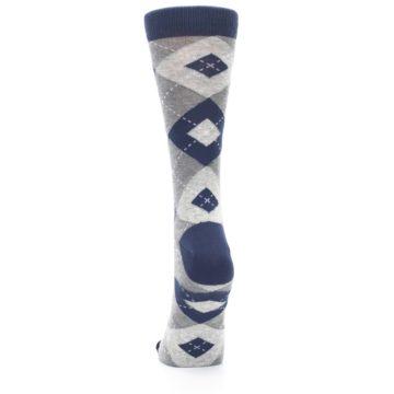 Image of Navy Gray Argyle Women's Dress Socks (back-18)