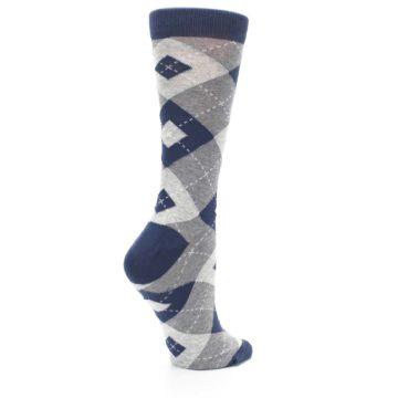 Image of Navy Gray Argyle Women's Dress Socks (side-1-23)