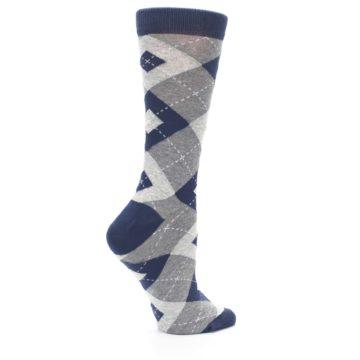 Image of Navy Gray Argyle Women's Dress Socks (side-1-24)