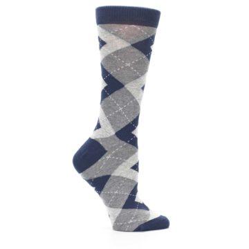 Image of Navy Gray Argyle Women's Dress Socks (side-1-25)