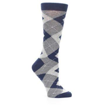 Image of Navy Gray Argyle Women's Dress Socks (side-1-26)