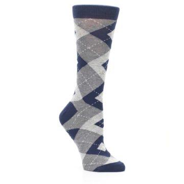 Image of Navy Gray Argyle Women's Dress Socks (side-1-27)