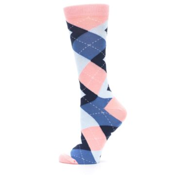 Image of Pink Blue Argyle Women's Dress Socks (side-2-12)