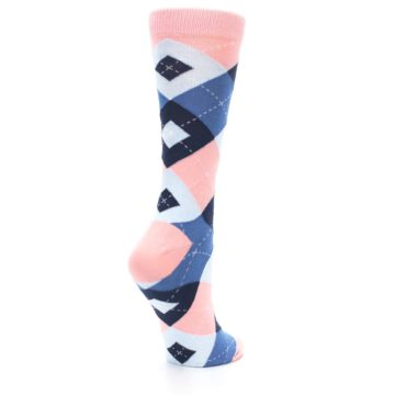 Image of Pink Blue Argyle Women's Dress Socks (side-1-back-22)