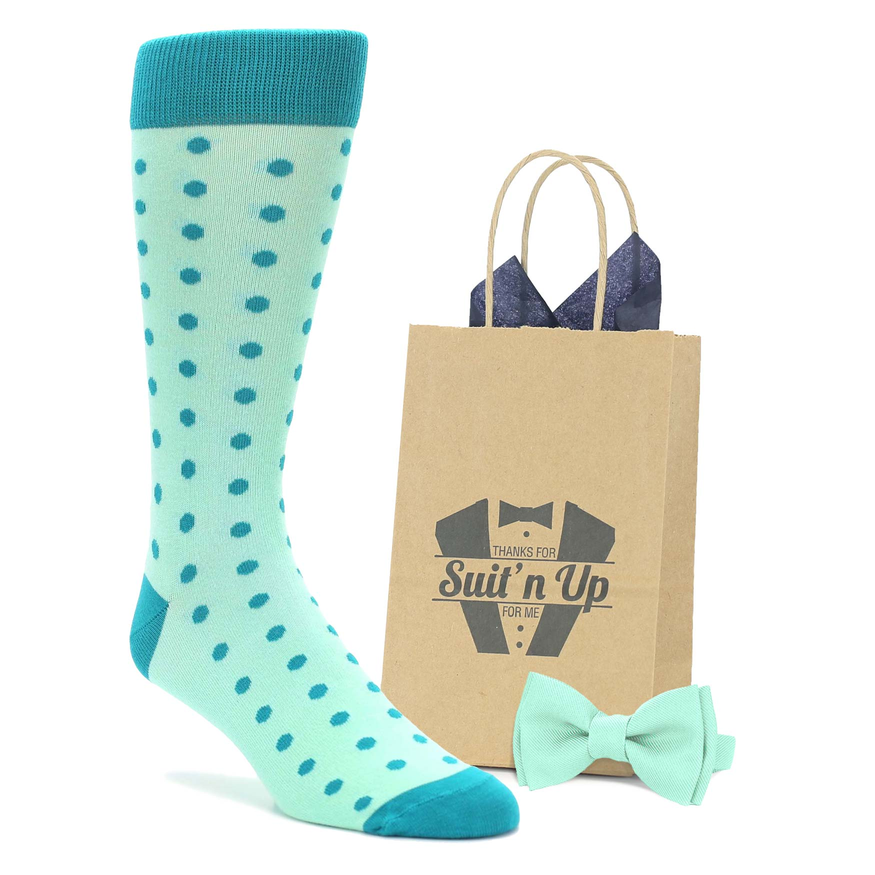 Mint Jade Polka Dot Wedding Groomsmen Men's Dress Socks