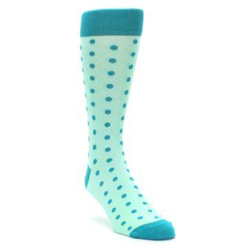 Image of Mint Jade Polka Dot Groomsmen Wedding Men's Dress Socks (side-1-front-02)