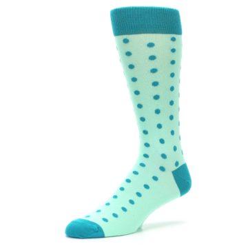 Image of Mint Jade Polka Dot Groomsmen Wedding Men's Dress Socks (side-2-09)