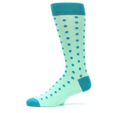 Image of Mint Jade Polka Dot Groomsmen Wedding Men's Dress Socks (side-2-11)