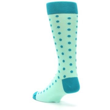 Image of Mint Jade Polka Dot Groomsmen Wedding Men's Dress Socks (side-2-back-15)
