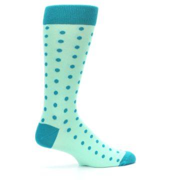 Image of Mint Jade Polka Dot Groomsmen Wedding Men's Dress Socks (side-1-24)