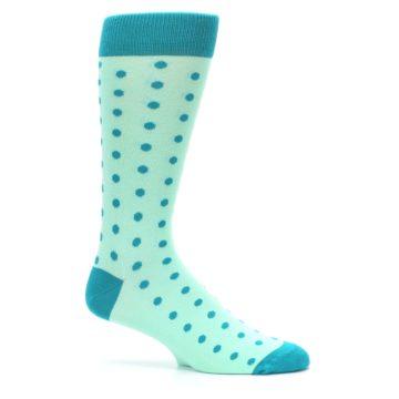 Image of Mint Jade Polka Dot Groomsmen Wedding Men's Dress Socks (side-1-25)